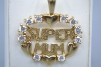 9ct Gold CZ Super Mum Pendant